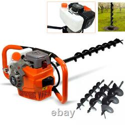 71cc Gas Power Post Hole Digger Engine with 4 6 8 Bits Drill Air-cooled 3.2KW