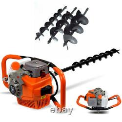 71cc Gas Powered Earth Auger Post Hole Digger + Drill Bits 4 6 8+12 Bar US