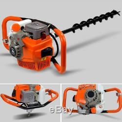 71cc Gas Powered Earth Auger Post Hole Digger Fence Borer &3 Drill Bits 3.2KW