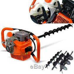 71cc Gas Powered Earth Auger Post Hole Digger Fence Borer &3 Drill Bits 3.2KW US