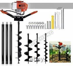 72CC 4HP Gas Powered Post Hole Digger with3Bits 4 8 12 Power Engine USA