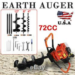 72CC 4HP Gas Powered Post Hole Digger with3 auger Bits 4 8 12 Power Engine USA