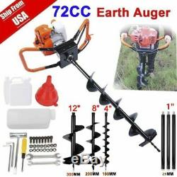 72CC 4HP Power Engine Gas Powered Post Hole Digger with3 auger Bits 4 8 12 USA