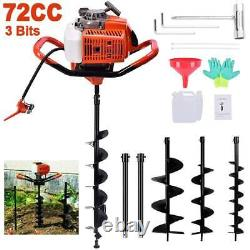 72CC Post Hole Digger Gas Powered Earth Auger Borer Fence Ground Drill +3 Bits