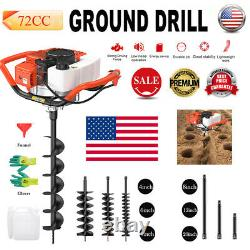 72CC Post Hole Digger Gas Powered Earth Auger Borer Fence Ground Extension Rod