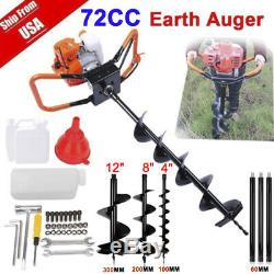 72CC Power Engine 4HP Gas Powered Post Hole Digger with3 auger Bits 4 8 12 USA