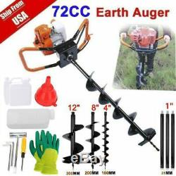 72CC Stroke Gas Post Hole Digger Earth Auger Petrol Powered Ground Drill&3BitsZB