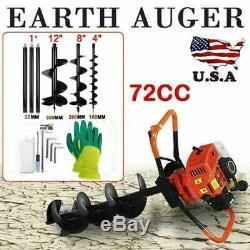 72CC Stroke Gas Post Hole Digger Earth Auger Petrol Powered Ground Drill&3Bits