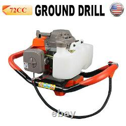 72 CC Gas Powered Earth Auger Electric Power Engine Post Hole Digger 2 Stroke