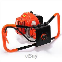 72cc 3KW Petrol Gas Powered Earth Auger Post Hole Borer Ground Drill +3 Bits New