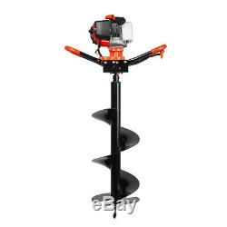 72cc 3KW Petrol Powered Earth Auger Post Hole Borer Digger Ground Drill +3 Bits