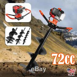 72cc 3KW Petrol Powered Engine Auger Post Hole Borer Gas Ground Drill +3 Bits