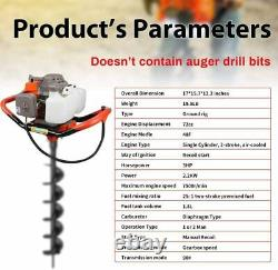 72cc Gas Powered Earth Auger Power Engine Post Hole Digger Earth Burrowing/Drill