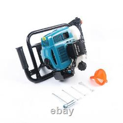 Auger motor Fishing Post Hole Digger Gas Power 52CC double spiral drill+12 Bar