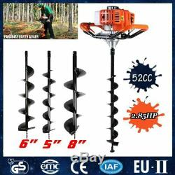 Gas Powered 52CC 2.85HP 2.1KW Earth Auger Power Engine Post Planting Drill Bits