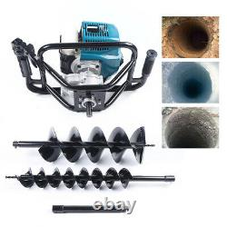 Gas Powered 52cc Post Hole Digger Auger Earth with2 Drill Bits+12 Extension Bar