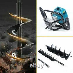 Gas Powered Ground Post Hole Digger 52CC +Extention Bar+2Earth Auger Drill Bits
