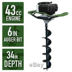 Gas Powered Post Hole Digger Earth Auger 6 inch Power Engine Bit Fast Digging