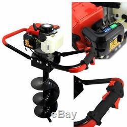 Gas Powered Post Hole Fence Digger Auger, 55CC Gas Motor And 10 Auger Bit, EPA