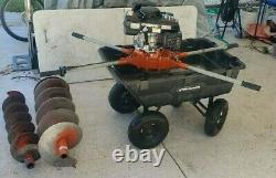 General Post Hole Digger & Auger 2-Man Honda Gas Powered Earth Fence w 1 bits