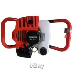 Hole Digger 52CC Post Gas Powered Earth Auger Borer Fence Ground+3 Drill Bits US