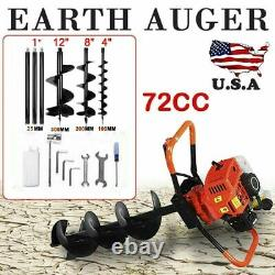 Hole Digger 72CC Gas Powered Post 4HP with4 812 Earth Auger Digging Engine US