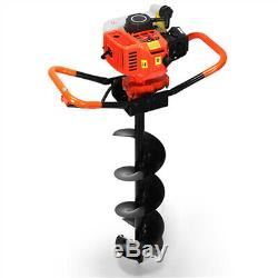 Hole Digger 72CC Post Gas Powered Earth Auger Borer Fence Ground+3 Drill Bits US