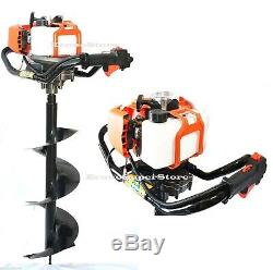 NEW 52cc Gas Power Post Fence Hole Digger Earth Ice Plant Driller +10 & 6 Bits