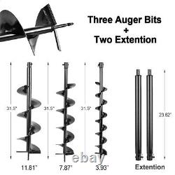 New 4HP 72cc Auger Post Hole Digger Gas Powered Auger Fence Ground + 3 Drill Bit