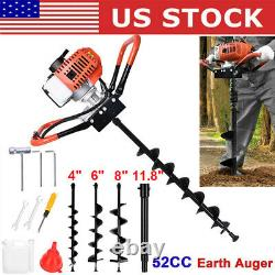 New 52cc Auger Post Hole Digger Gas Powered Auger Fence Ground with 3 Drill Bits