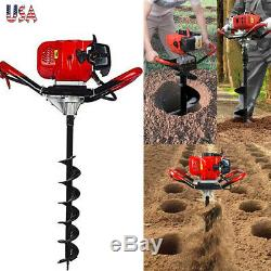 One Man 52cc 900ml 2 Stroke Earth Post Hole Auger Head Digger Gas Power US