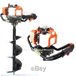 One Man 52cc Gas Power Post Earth Hole Digger with10 & 6 x 800mm Auger Bits