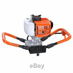 One Man Earth Auger 2.2HP 52cc Gas Powered Post Hole Digger Machine EPA 2-Stroke