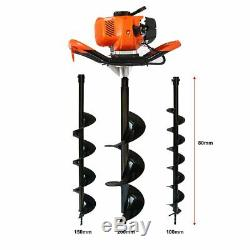 One Man Earth Auger, 52Cc 2-Cycle 2.3 Hp Petrol Powered Earth Auger Post Hole Bo