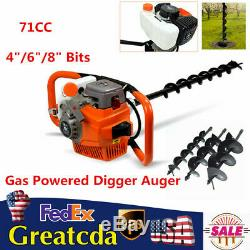 PRO 71CC Gas Powered Post Hole Digger Auger Borer Fence Drill + 4/6/8 Bits