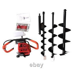 Post Hole Digger 52CC Gas Powered Earth Auger Borer Fence Ground+3 Drill Bits US