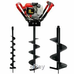 Post Hole Digger 55CC Powerhead 2-Stroke Gas-Powered Auger with 4 8 12 Bits