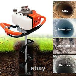 Post Hole Digger 63CC 3.4 HP(Max) Gas Powered Earth Auger Borer for Fence Ground