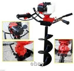 TWO Man 52cc Gas Power Fence Post Dirt Hole Digger Driller with12 Auger Drill