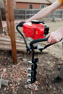 Tool Tuff Hand-Held Post Hole Digger Combo 3 Augers and 52cc 2.3 hp Power head