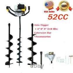US 52cc 2-Stroke Gasline Gas Powered Earth Auger Post Hole Digger + 3 Drill Bits