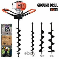 US 52cc Gas Powered Earth Auger Power Engine Post Hole Digger Ground + Drill Bit