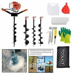 Upgrade 52cc Gas Powered Auger Post Hole Digger with3 Drill Bits