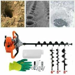 Upgrade 52cc Gas Powered Auger Post Hole Digger with3 Drill Bits Fast Shipp hm