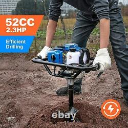 WEMARS Post Hole Digger 52CC Earth Auger Gas Powered Garden Auger 2 Stroke Gas O